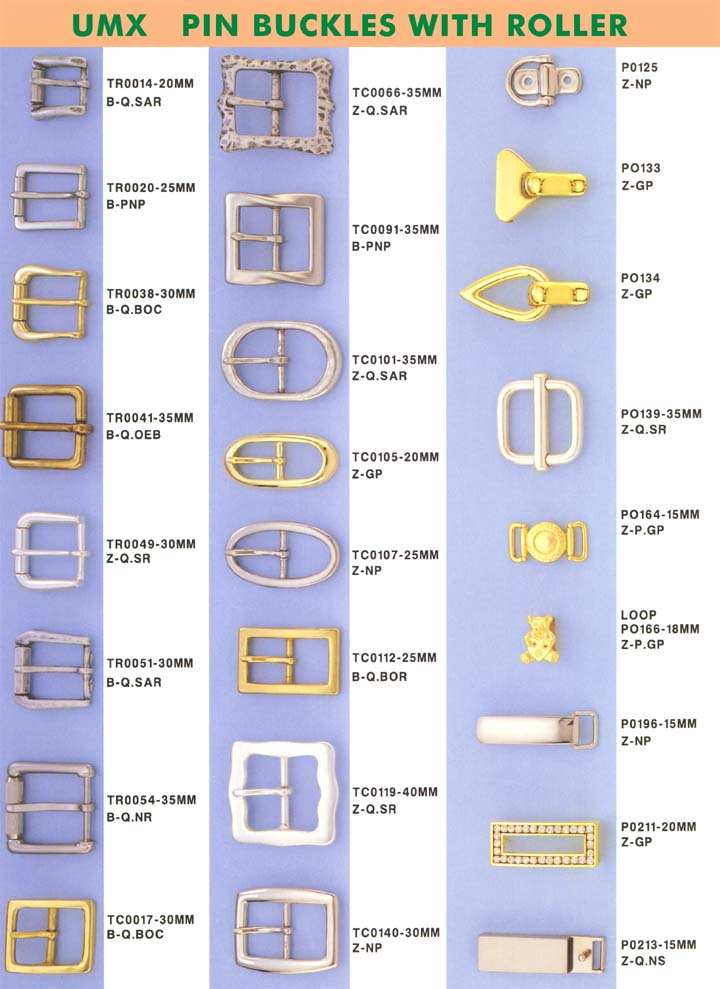large picture of pin buckles series with roller or central bar