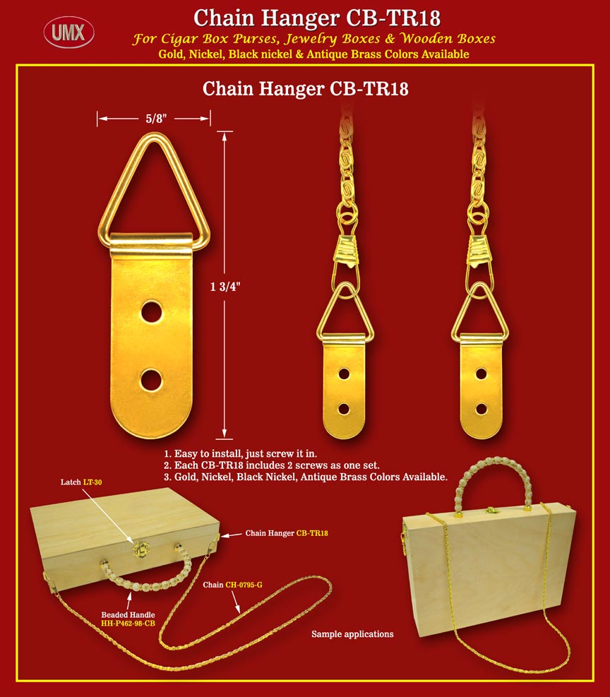 Umx Cb Tr18 Metal Chain Hangers With Screws For Cigar Box
