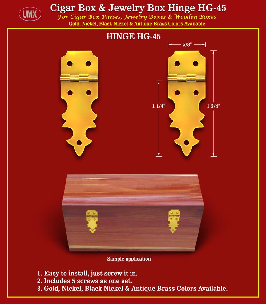 Metal Hinges With Screws For Cigar Box Jewelry Box Wood