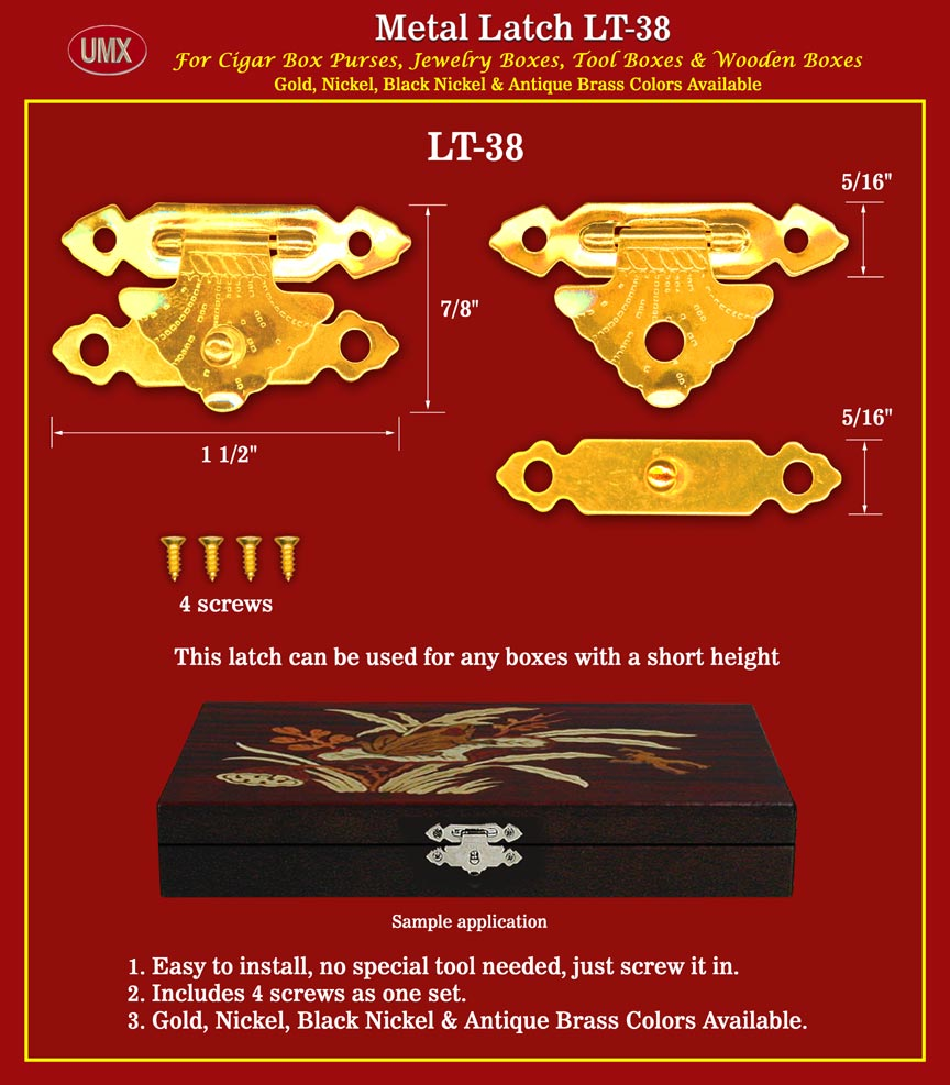 Latch LT-38 With Screws - Good For Jewelry Box with Short Height.