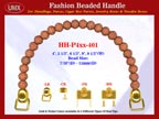 HH-Pxx-401 Beaded Handle With Pottery Flower Pattern Bali Beads For Designer Handbag Making