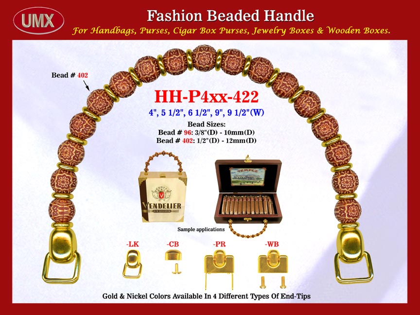 hh pxx 422 beaded handle with sphere pattern beads and metal beads for wholesale handbag making. Black Bedroom Furniture Sets. Home Design Ideas