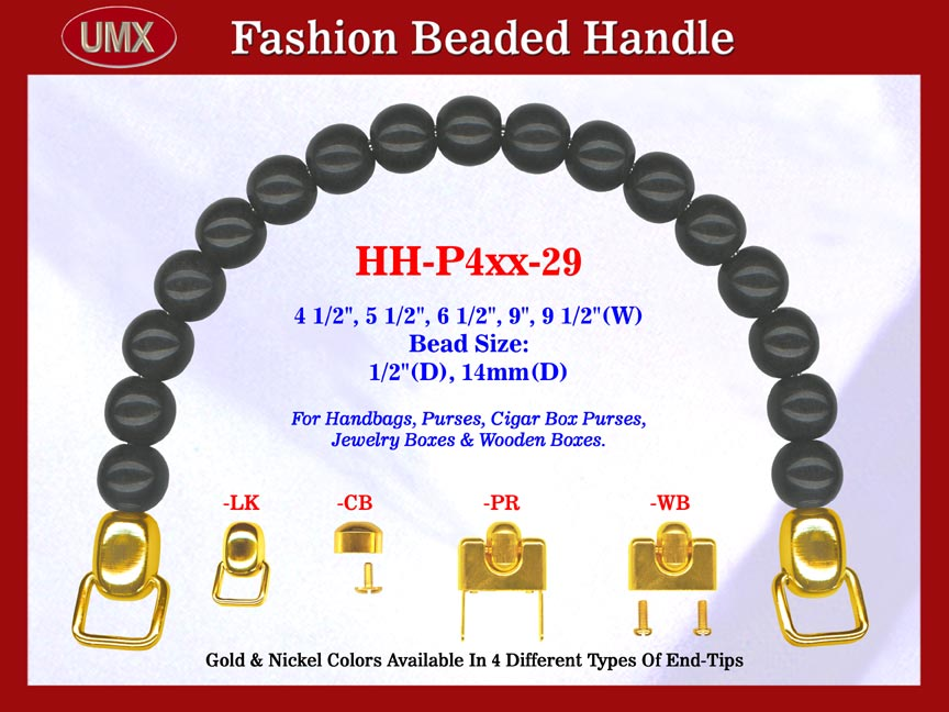 HH-P4xx-29 Stylish Beaded Purse Handle For Wood Jewelry Box, Cigar Box Purses