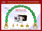 Emerald Green Gemstone Beads, Acrylic Emerald Beads For Women's Cloth Handbag Handle: HH-Pxx-524