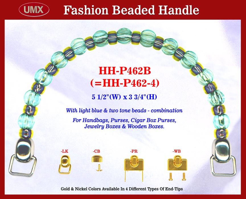 Large picture of beaded handbag handle hh-p462b