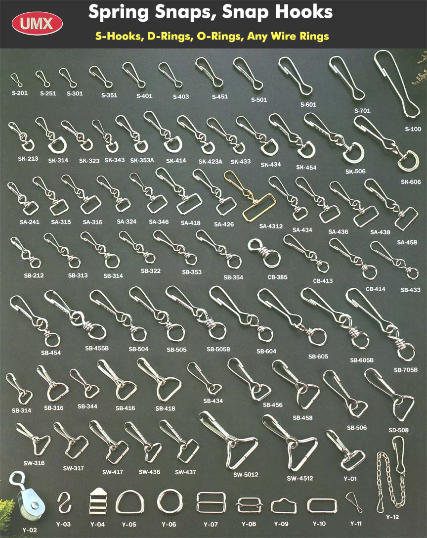 Snaps, Spring Snaps, Snap Hooks, Hooks for buckles, luggage, fishing, boating