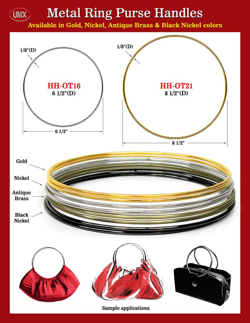 Umx Fashion Metal Ring Purse Handles Gold Nickel Black