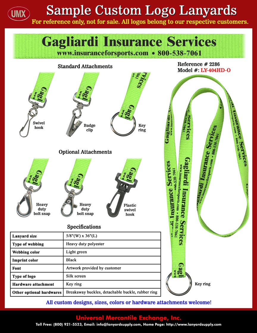Gagliardi Insurance Services Lanyards With Toll Free Phone Number ...