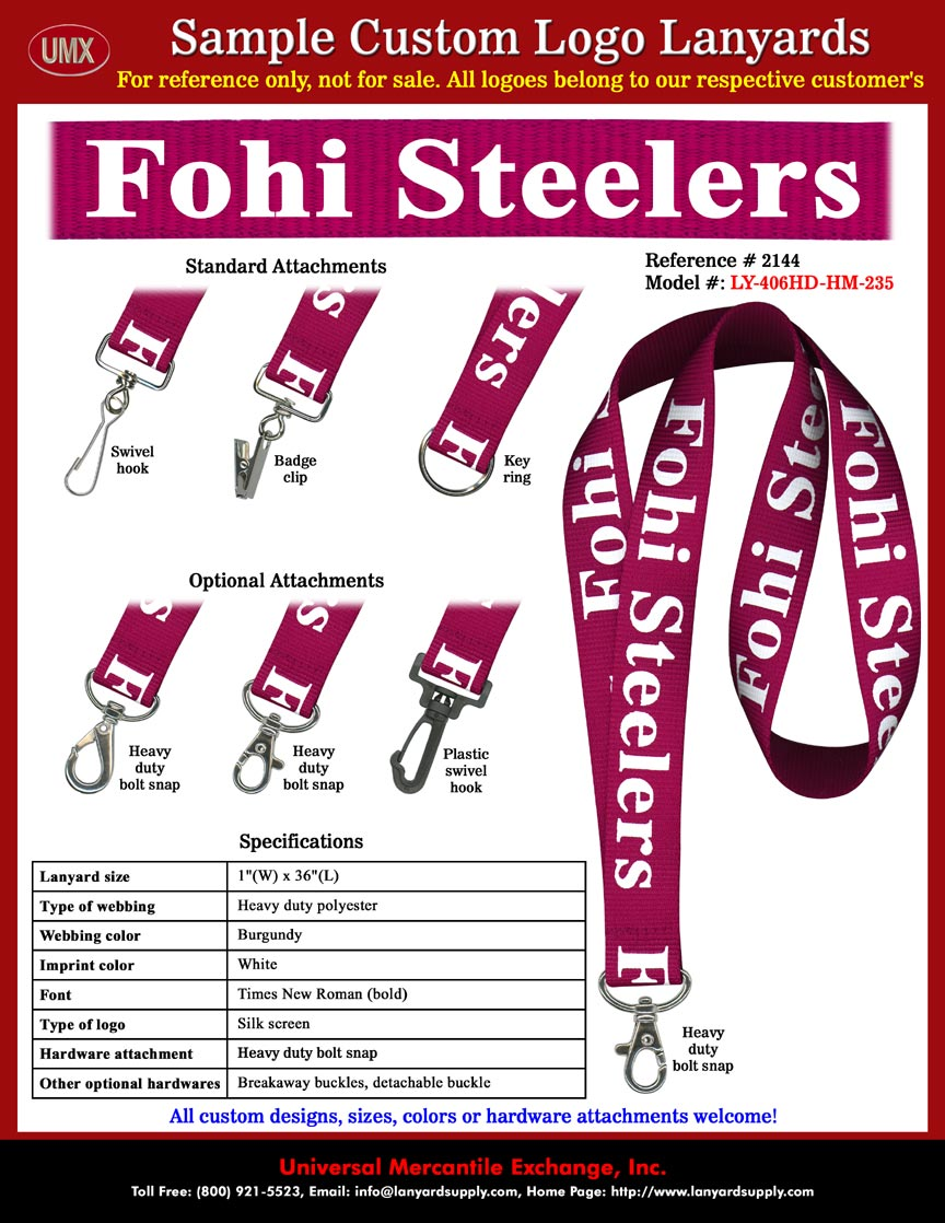 Fontana High School - Fohi Steelers Lanyards