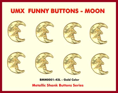 The funny metallic shank button with moon face.
